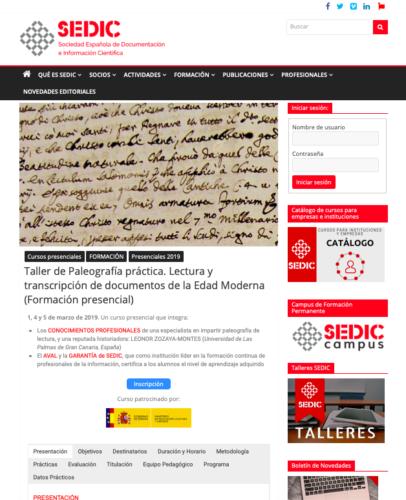 Imagen de pantalla de la página de la Sedic, https://www.sedic.es/taller-paleografia-practica/