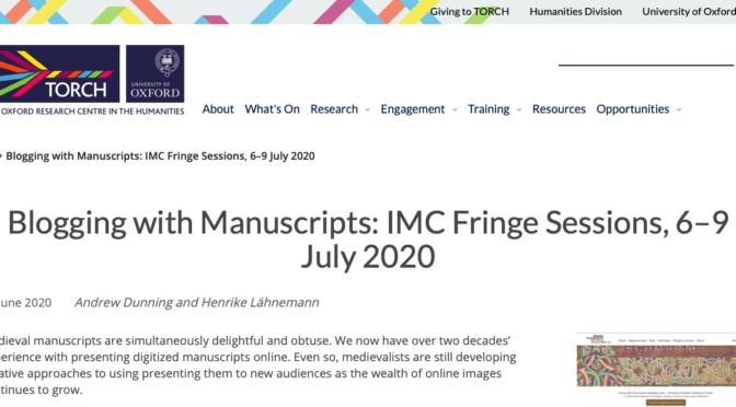"""""""Blogging with Manuscripts"""", las otras sesiones del congreso de Leeds 2020"""