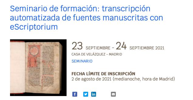 Transcripción automatizada de manuscritos con eScriptorium (seminario, Casa de Velázquez)